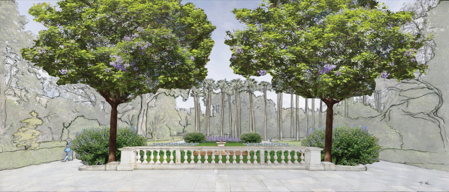 H είσοδος από τη Λεωφόρο Αμαλίας θα έπρεπε να λειτουργεί ως χώρος υποδοχής και όχι ως πέρασμα. Άρα, βάζουμε παγκάκια και φυτεύουμε δύο δέντρα ώστε ο κόσμος να μπορεί να κάθεται και να μη βλέπει τις πολυκατοικίες.