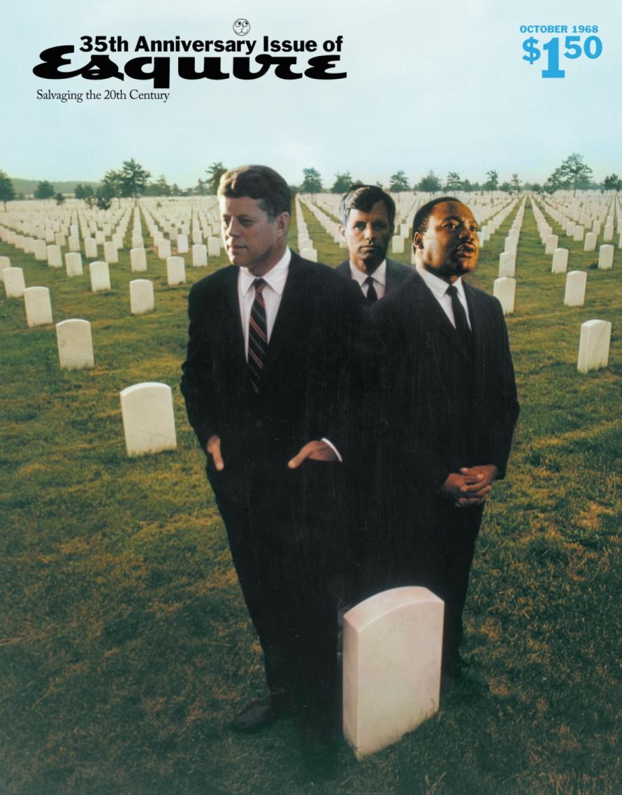 Ο JFK, ο Ρόμπερτ Κένεντι και ο Μάρτιν Λούθερ Κινγκ στο εξώφυλλο του επετειακού τεύχους για τα 35 χρόνια ζωής του Esquire. «Ο συμβολισμός έχει να κάνει με τη δολοφονία του Καλού στην Αμερική», έχει δηλώσει ο Λόις.