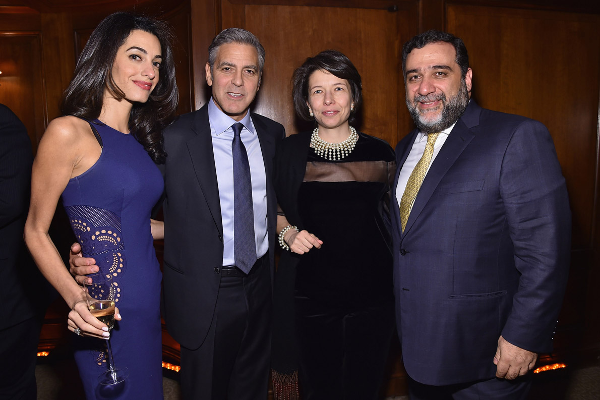Amal Clooney, George Clooney, guest and Ruben Vardanian attend the 100 LIVES initiative, to express gratitude to the individuals and institutions whose heroic actions saved Armenian lives during the Genocide 100 years ago, on March 10, 2015 in New York City.