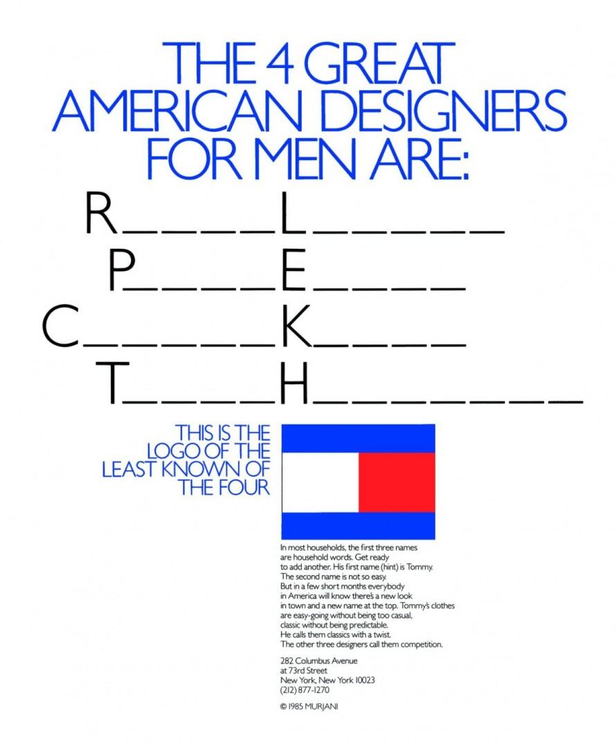 Διαφημιστική καταχώρηση για λογαριασμό του Tommy Hilfiger, από το 1985.