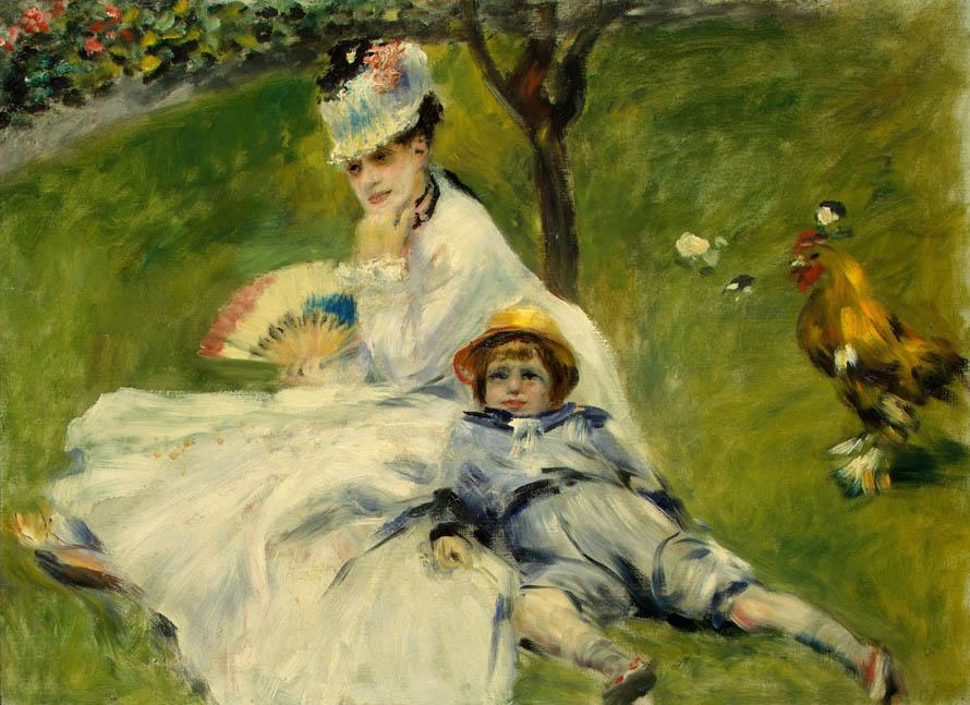 «Η μόνη του χαρά να βλέπει τις γυναίκες / της γενιάς γύρω απ' το τριάντα. / Με κείνα τα βαθιά καπέλα, / Σαν τη μητέρα, αλήθεια∙ / σαν τη μάνα του / των πρώτων παιδικών του χρόνων...» (Pierre-Auguste Renoir, «Madame Monet and her son», National Gallery of Art)