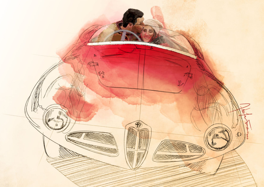 Το σκίτσο του Αλέξανδρου που έβαλε τη σπίθα στην έμπνευση του για τον σχεδιασμό της Alfa Romeo Gloria.