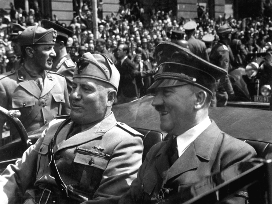 Hitler and Mussolini in Munich, Germany, ca. June 1940. Eva Braun Collection. (Foreign Records Seized)