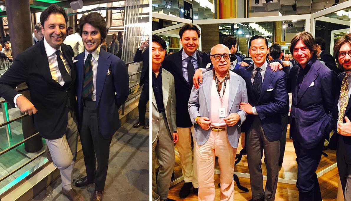 Με τον Alfonso De Francesco, που μας είχε επισκεφθεί και στην Αθήνα. Τρεις γενιές of Style, ο Βετεράνος Ιταλός Αντζέντης Fabrizzio Capigatti (καθιέρωσε τις ιταλικές φίρμες ραπτικής στην Αμερική –Kiton, Attolini κα), η Οικογένεια Ricci της Sciamat και η νέα γενιά από την Ασία-Κορέα & Κίνα: Joe Ha (TFC) και Zing Chan (Firense China).