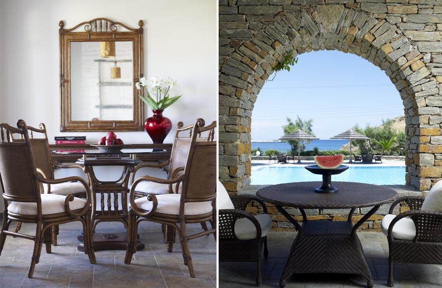 Εσωτερική και εξωτερική θέα: κάθε γωνιά του Porto Kea Suites παραπέμπει σε ένα καλοκαιρινό κάδρο με πανόραμα τη θάλασσα.