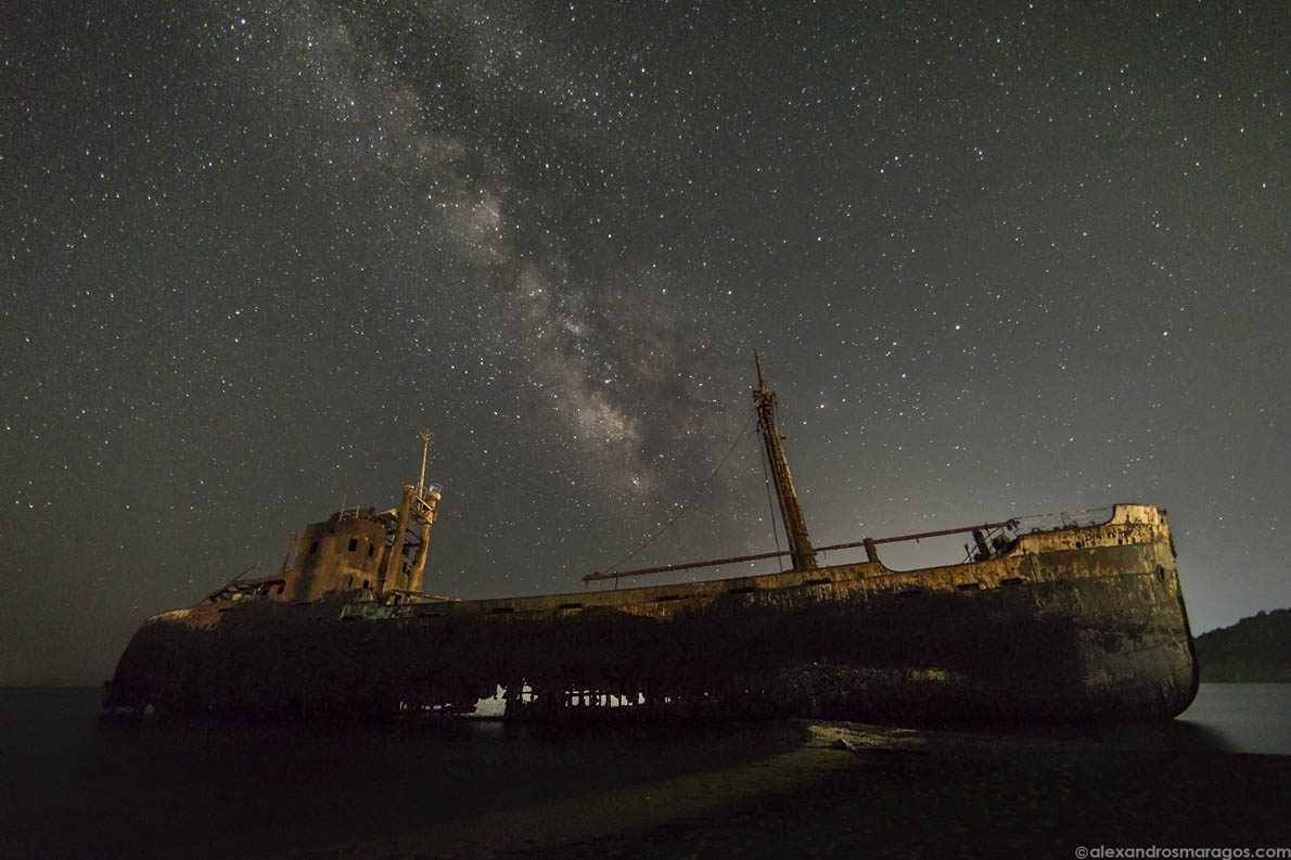 "The Milky Way over ""Dimitrios"" shipwreck at Gytheio, Greece."