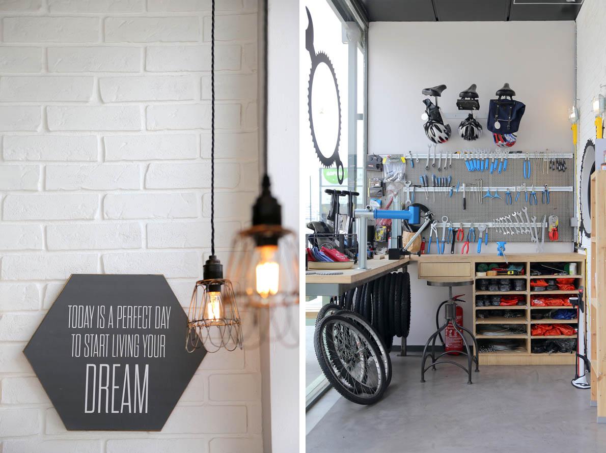 Το τμήμα επισκευής ποδηλάτου όπου μπορείς να το φτιάξεις μόνος σου ή να το επιμεληθούν οι ειδικοί.