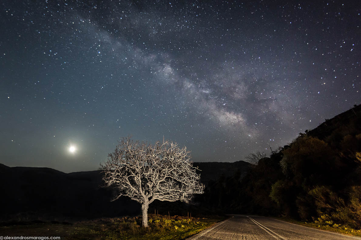 The Moon and the Milky Way over the mountains of Peloponnese in West Greece.
