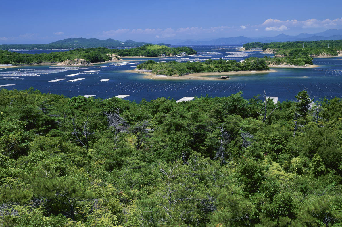 Japan, Mie Prefecture, Ago Bay, Islands in sea, high angle view