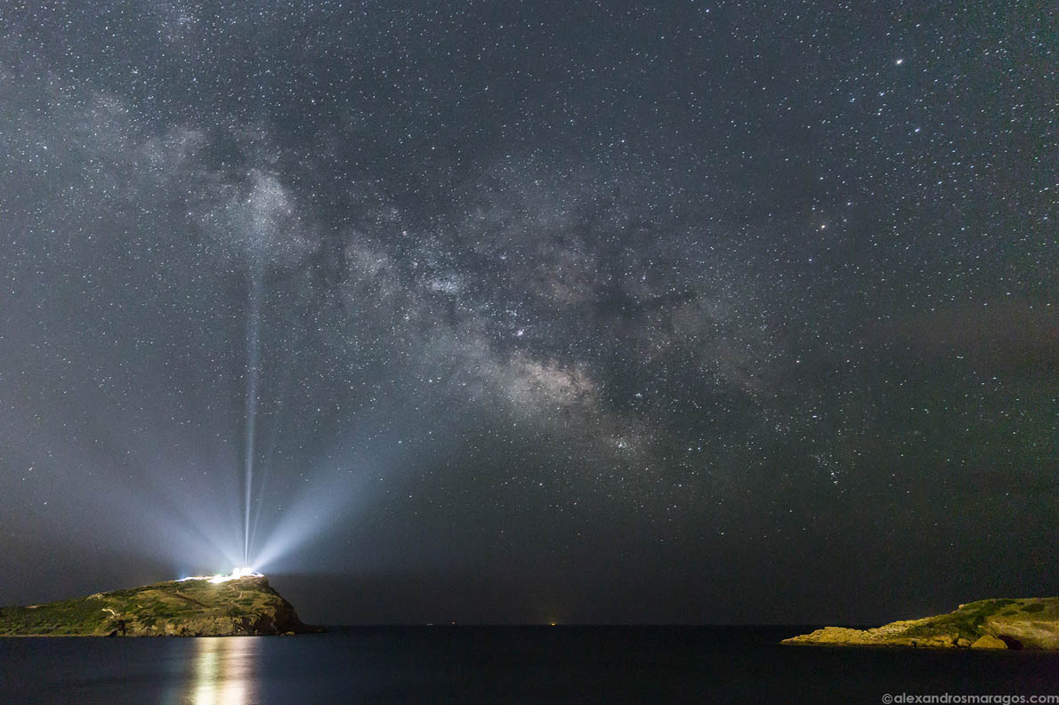 The Milky Way over the Temple of Poseidon, Cape Sounio, Greece.