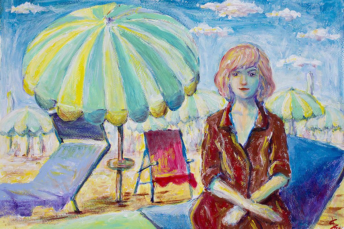 «Υποβασταζόμενη από πετσέτες τυρκουάζ / Γυαλιστερά βότσαλα και την απερισκεψία πως / Η επιθυμία μπορεί να είναι / Ισοδύναμο ζωής». (Ekri Schotter, «Woman in Beach»)