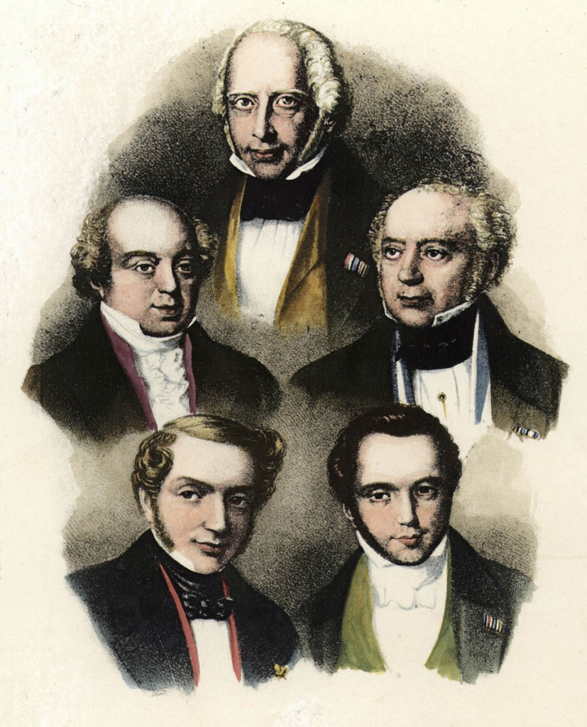 Rothschild, Amschel Mayer Banker; 1773-1855.-Amschel Meyer (top) and his brothers Nathan (top left), Salomon (top right), James (bootom left) and Carl (bottom right).-Lithograph, contemporary. Colour added later.