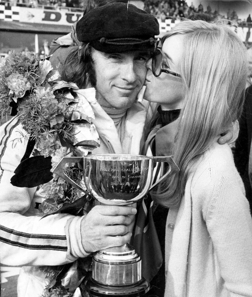 Motor Racing, 22nd March 1970, World Champion racing driver Jackie Stewart gave the new March 701 Grand Prix car it's first ever win in a drama packed Daily Mail Race of Champions at Brands Hatch, Kent, Picture shows the British victor and his wife (Photo by Bentley Archive/Popperfoto/Getty Images)
