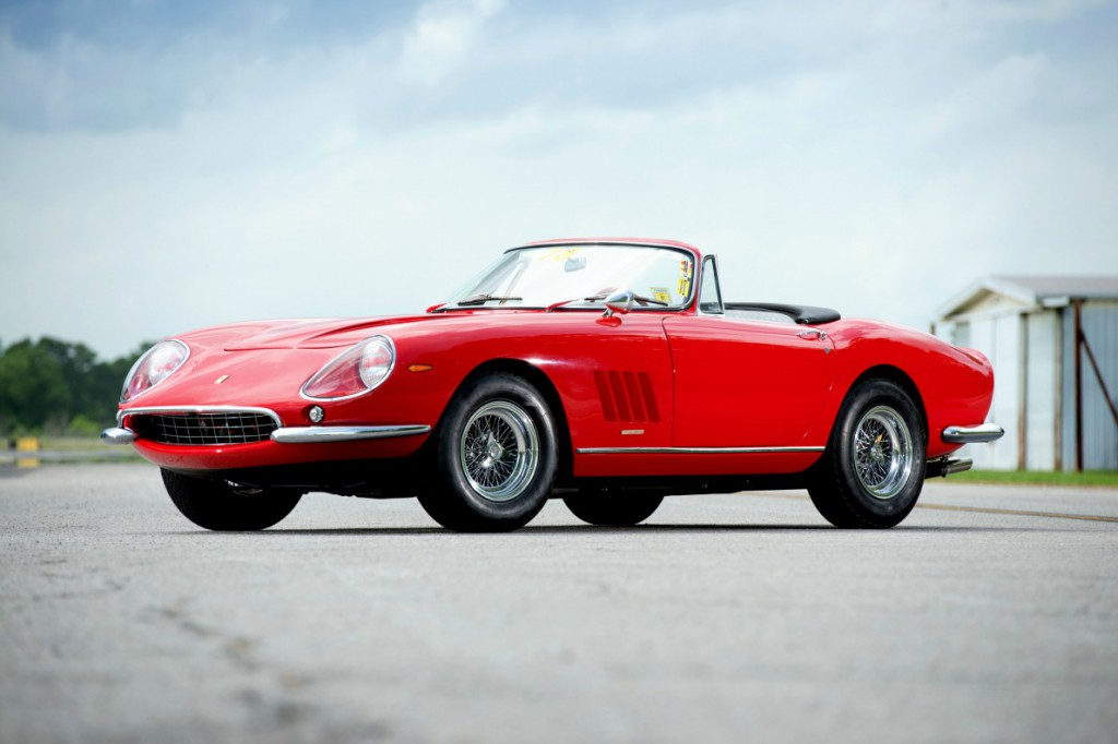 A 1967 Ferrari 275 GTB/4*S N.A.R.T. Spider is shown in this handout photo taken on June 10, 2013. One of only 10 made, it is estimated at $14 million to $17 million in a two-day sale that will be held by RM Auctions in Monterey, California, Oon Aug. 16-17. Photographer: Darin Schnabel/RM Auctions via Bloomberg