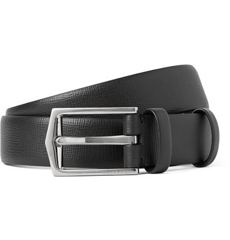 BURBERRY LONDON 2.5cm Black Cross-Grain Leather Belt