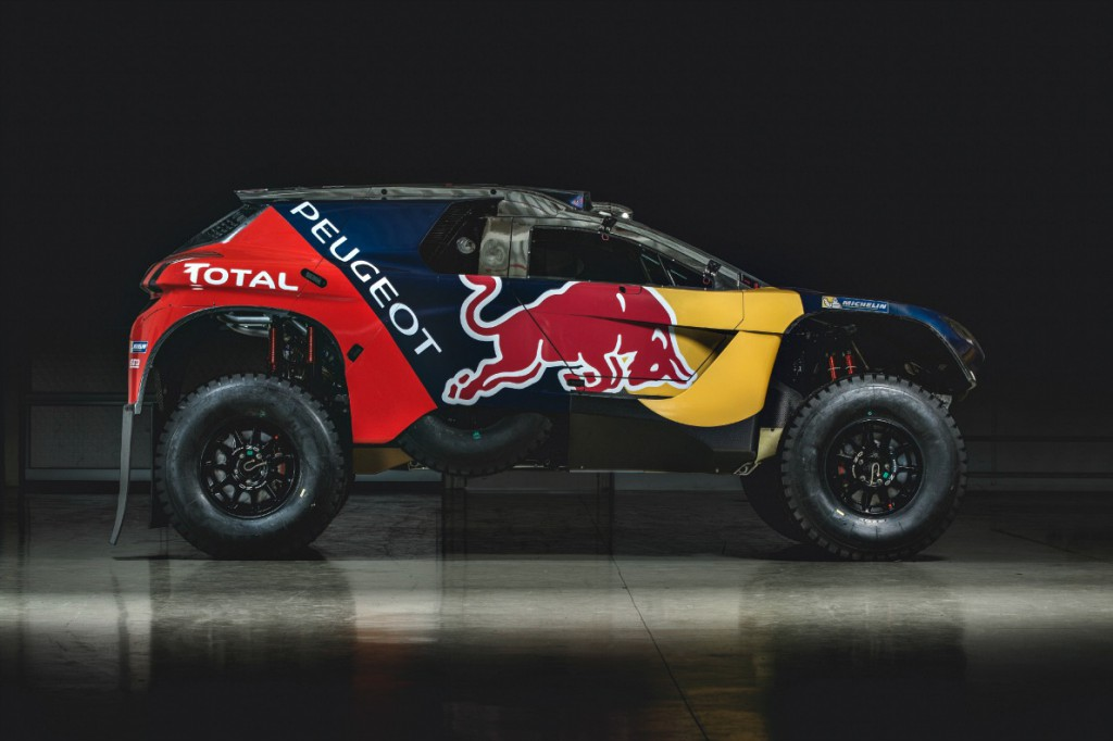 Team Peugeot-Total 2008 DKR16 final livery in Peugeot Sport factory , France on November 28, 2015