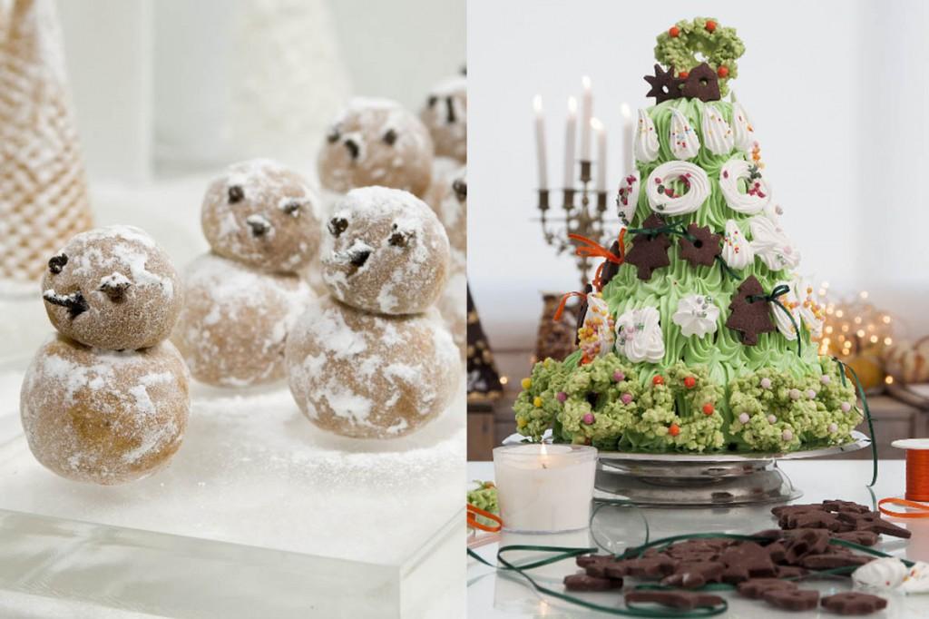 Χιονάνθρωποι από αμύγδαλο(Υπέροχα βρώσιμα διακοσμητικά σε σχήμα χιονάνθρωπου, πλασμένα από μάρτσιπαν που φτιάχνουμε μόνοι μας.) - Κέικ «χριστουγεννιάτικο δέντρο»