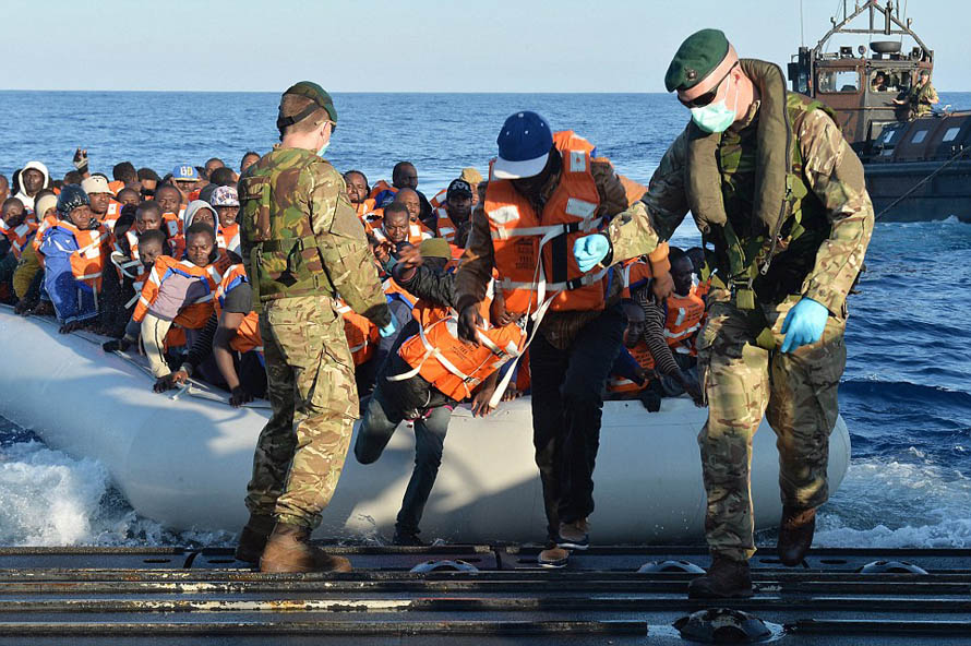 British Navy rescue 400 migrants from their sinking, overloaded ships in the Mediterranean… but diplomatic sources insist there is 'no chance' they will be given asylum in Britain Read more: http://www.dailymail.co.uk/news/article-3079883/British-Navy-rescue-400-migrants-sinking-overloaded-ships-Mediterranean-diplomatic-sources-insist-no-chance-given-asylum-Britain.html#ixzz3xDmWFvaR Follow us: @MailOnline on Twitter | DailyMail on Facebook