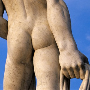 Close-up of Backside of Athlete Statue at Foro Italico (Stadio dei Marmi) in Rome, Italy