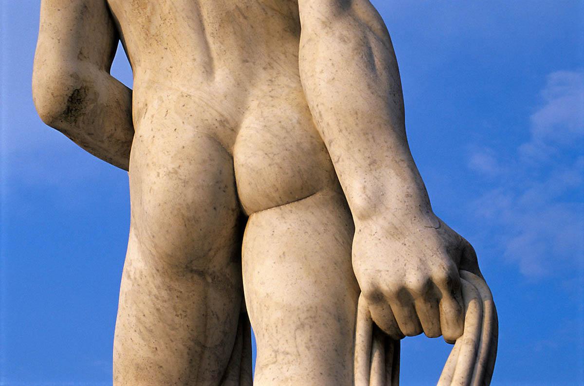Close-up of Backside of Athlete Statue at Foro Italico (Stadio dei Marmi) in Rome, Italy