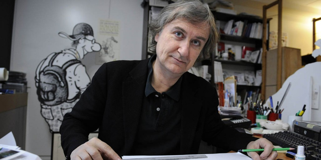 French leading newspaper Le Monde's cartoonist, Jean Plantureux, aka Plantu, poses in his office, on February 13, 2009 in Paris. French daily evening newspaper, Le Monde with a circulation of 336,090 as of 2008, is often the only French daily easily obtainable in non-Francophone countries. AFP PHOTO / STEPHANE DE SAKUTIN