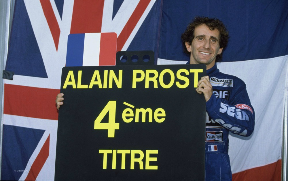 Estoril, Portugal, 24th - 26th September 1993, RD14. Alain Prost put in a dominant performace for the 1993 season in the Williams FW15B-Renault, having secured his fourth drivers title before the final race of the season. Portrait. Photo: LAT Photographic/Williams F1. Ref: 1993williams09