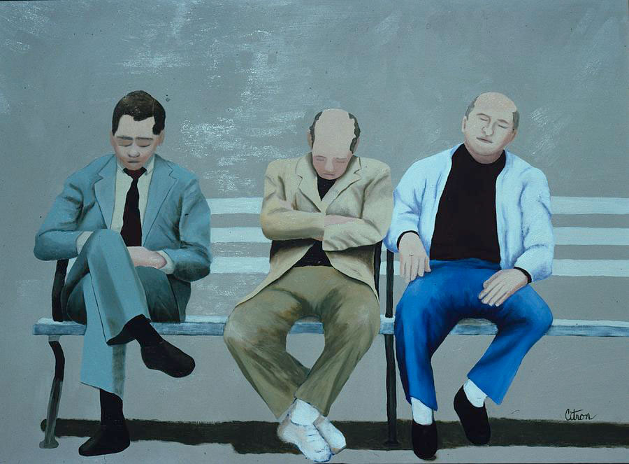 men-sleeping-on-a-park-bench-merle-citron--artist