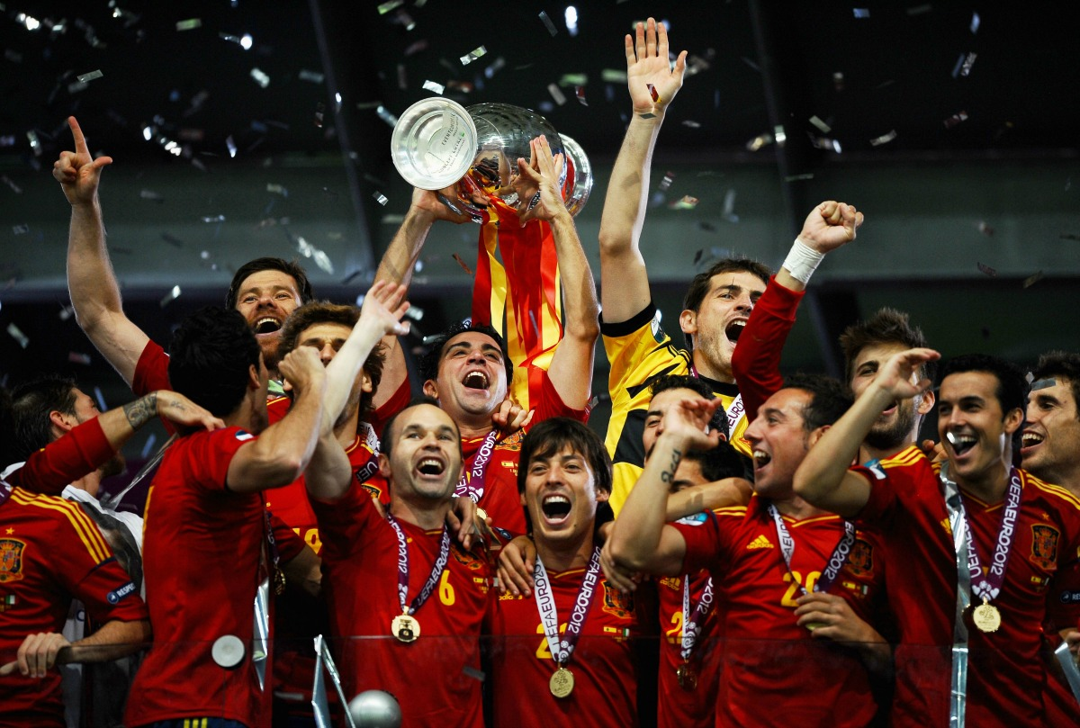 during the UEFA EURO 2012 final match between Spain and Italy at the Olympic Stadium on July 1, 2012 in Kiev, Ukraine.