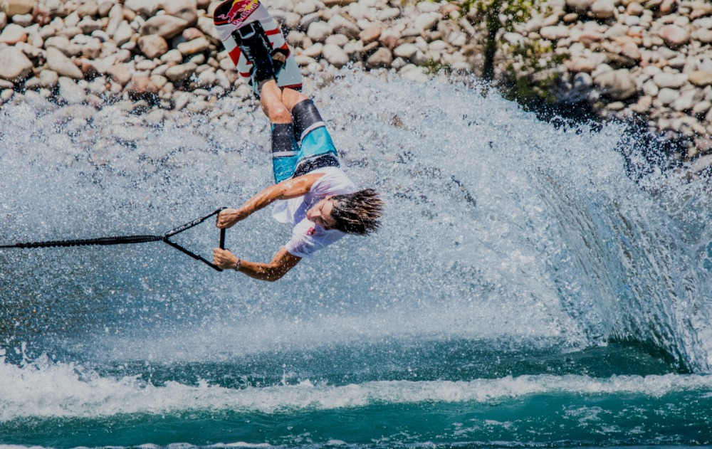 Nikolas Plytas performs during National Waterski Championship at Agrinio Lake in Greece on July 23th, 2015