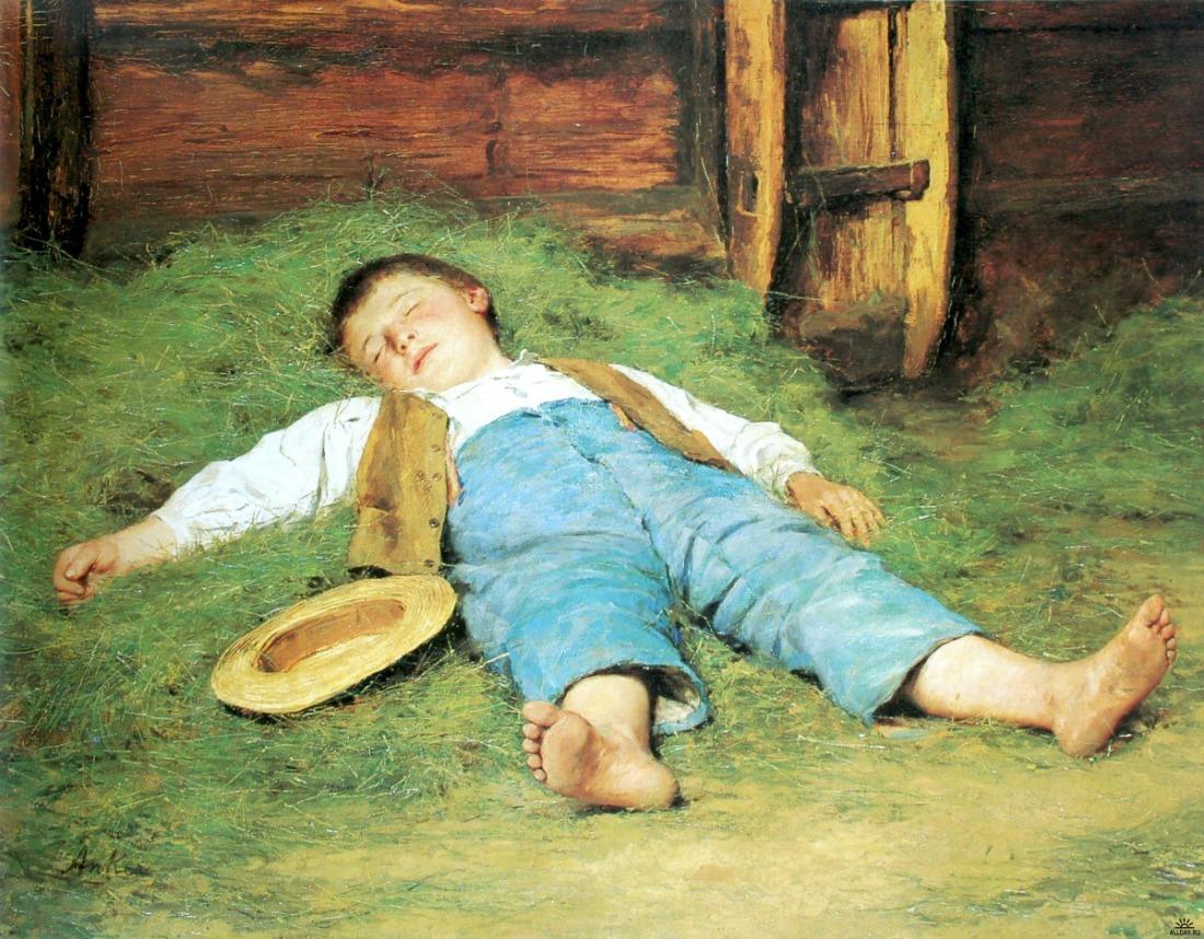 Sleeping-boy-in-the-hay-by-Albert-Anker