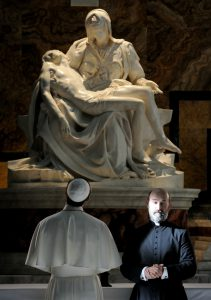 """set of """"The young Pope"""" by Paolo Sorrentino. 10/14/2015 sc. 227 ep. 2 In the picture Jude Law and Javier Càmara. Photo by Gianni Fiorito"""