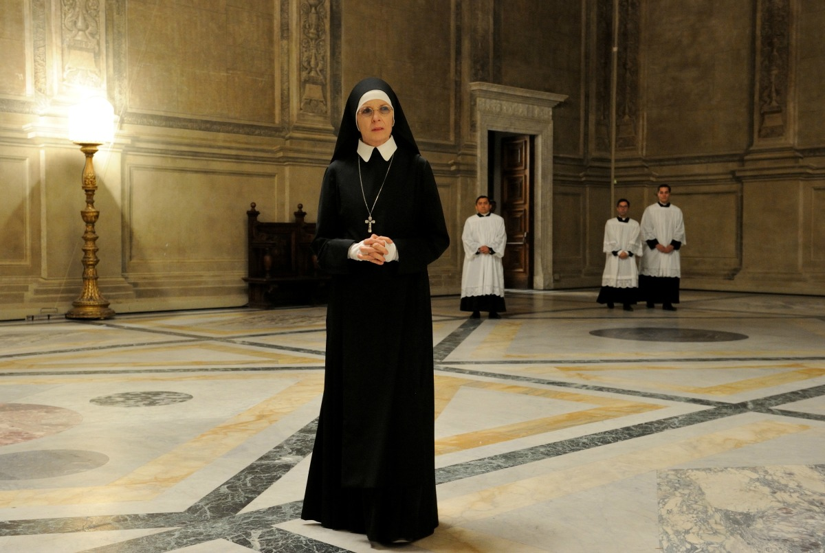 """set of """"The young Pope"""" by Paolo Sorrentino. 10/22/2015 sc. 264 ep. 2 In the picture Dyane Keaton. Photo by Gianni Fiorito"""