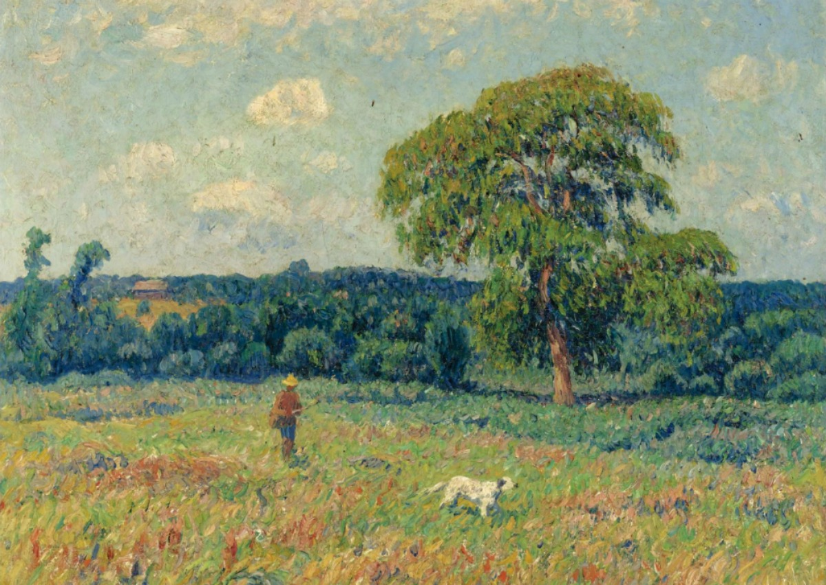 henry-moret-landscape-with-a-hunter-and-his-dog-1901-impressionism-painting-48
