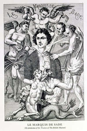 BAL126790 Portrait of the Marquis de Sade Surrounded by Devils (engraving) by French School, (18th century); Private Collection; French, out of copyright