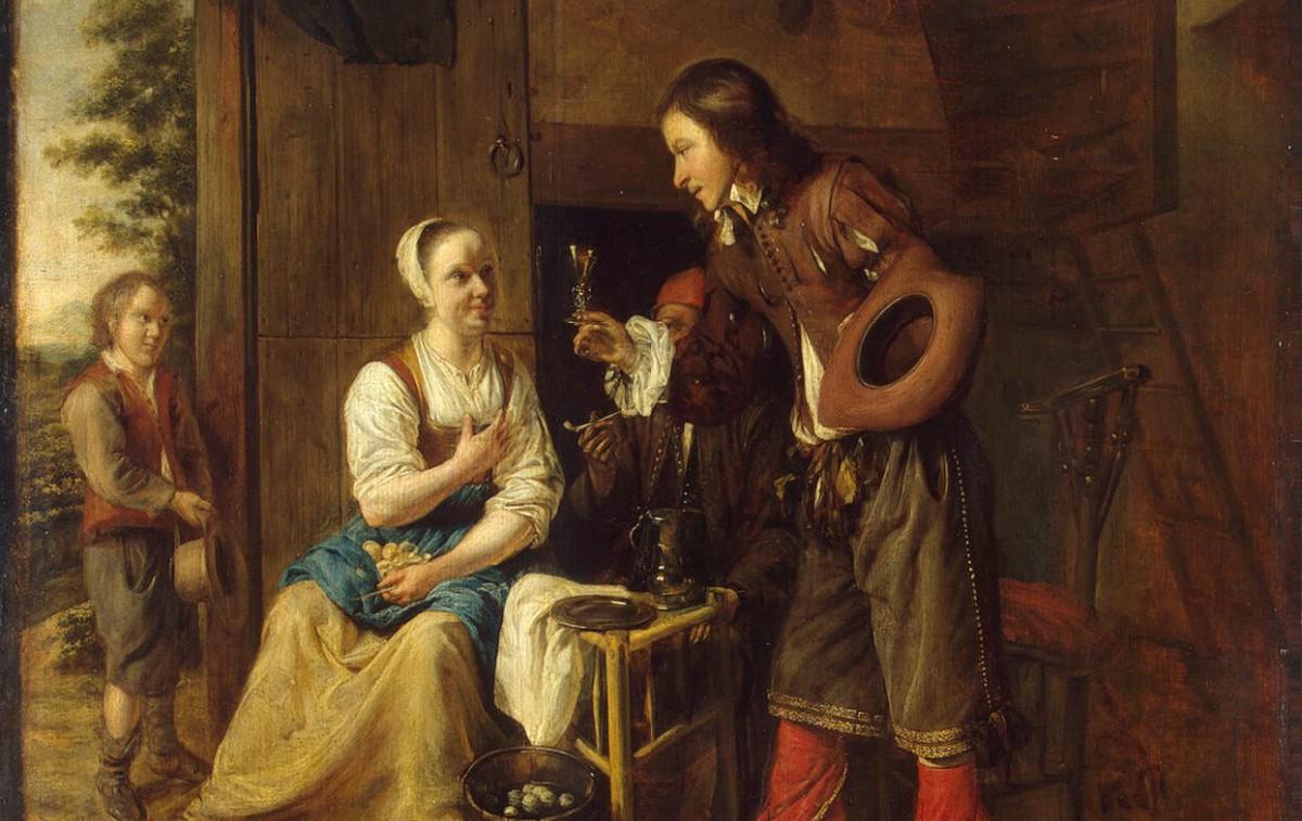 12c1d3af37 Hooch Pieter de-ZZZ-Soldier Offering a Woman a Glass of Wine