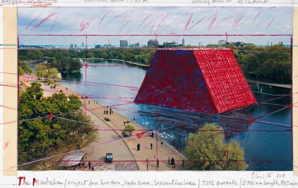 Η εντυπωσιακή πλωτή «πυραμίδα» του Christo στο κέντρο του Λονδίνου