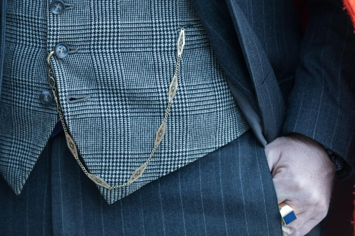 6df1791b15eb Nice-pocket-watch-chain-and-lapis-ring-with-POW-check-waistcoat-and ...