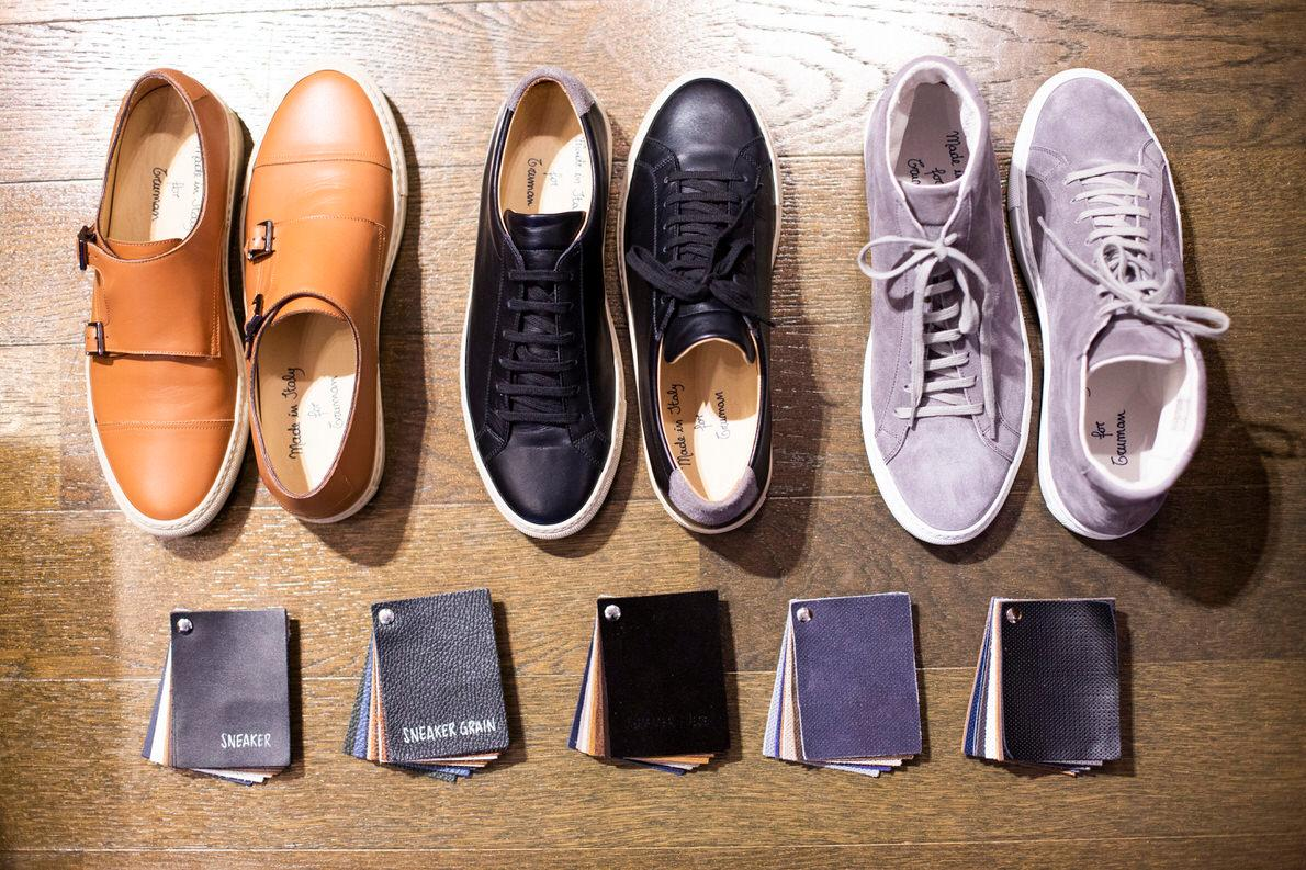 3d3574169e9 Από αριστερά: Monk straps, κλασικά σπορ sneakers σε Ιταλικό δέρμα και τα  αντίστοιχα μποτάκια σε απαλό suede. Μπορείτε όμως, με το δειγματολόγιο, ...