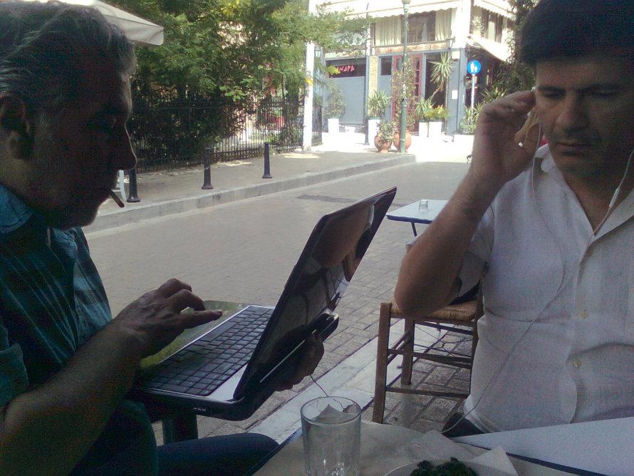 Γιώργος Τσεμπερόπουλος και Φοίβος Δεληβοριάς. Φωτογραφία: Σωτήρης Κακίσης