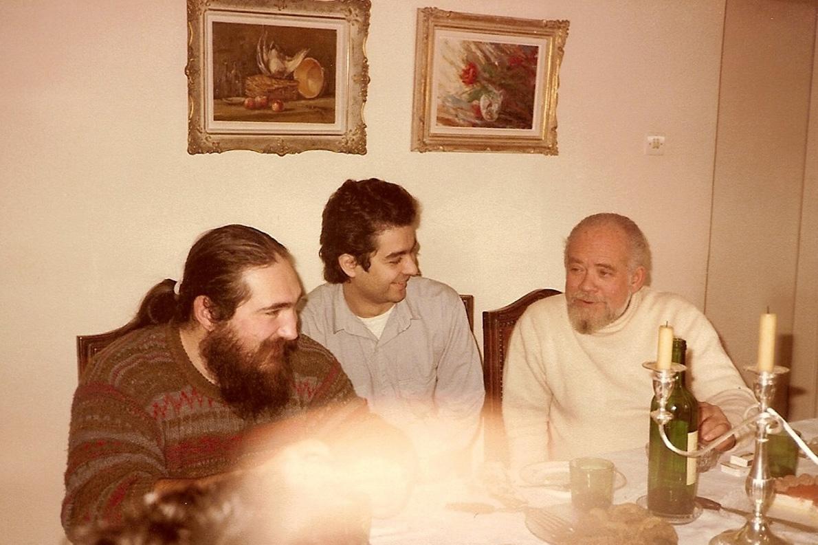 Τζίμης Πανούσης, Σωτήρης Κακίσης, Στέφανος Κουμανούδης, 1989 (Φωτογραφία: Νανά Κακίση)