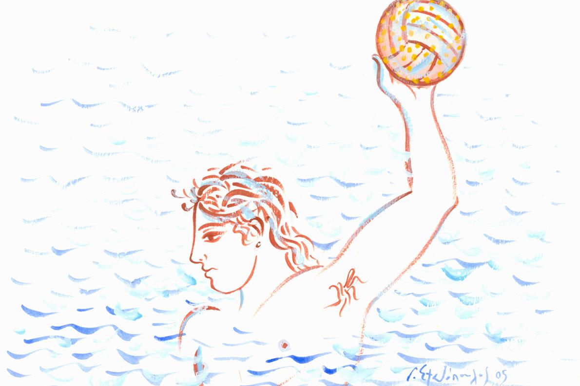 Ο Σωτήρης Κακίσης στην πισίνα του Ζαππείου (πίνακας του Γιώργου Σταθόπουλου)