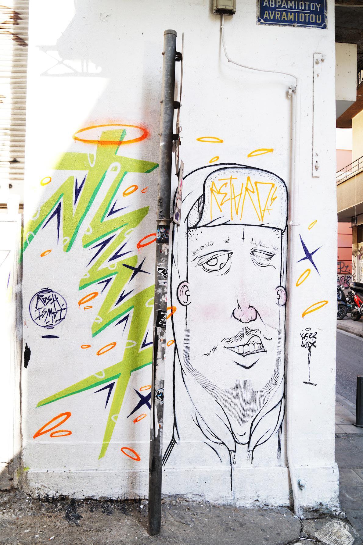 Μοναστηράκι  Artists: junx  Φρέσκια ματιά στο αθηναϊκό street art. Το crew χρησιμοποιεί στα έργα του κυρίως πλαστικό χρώμα και spray-paint
