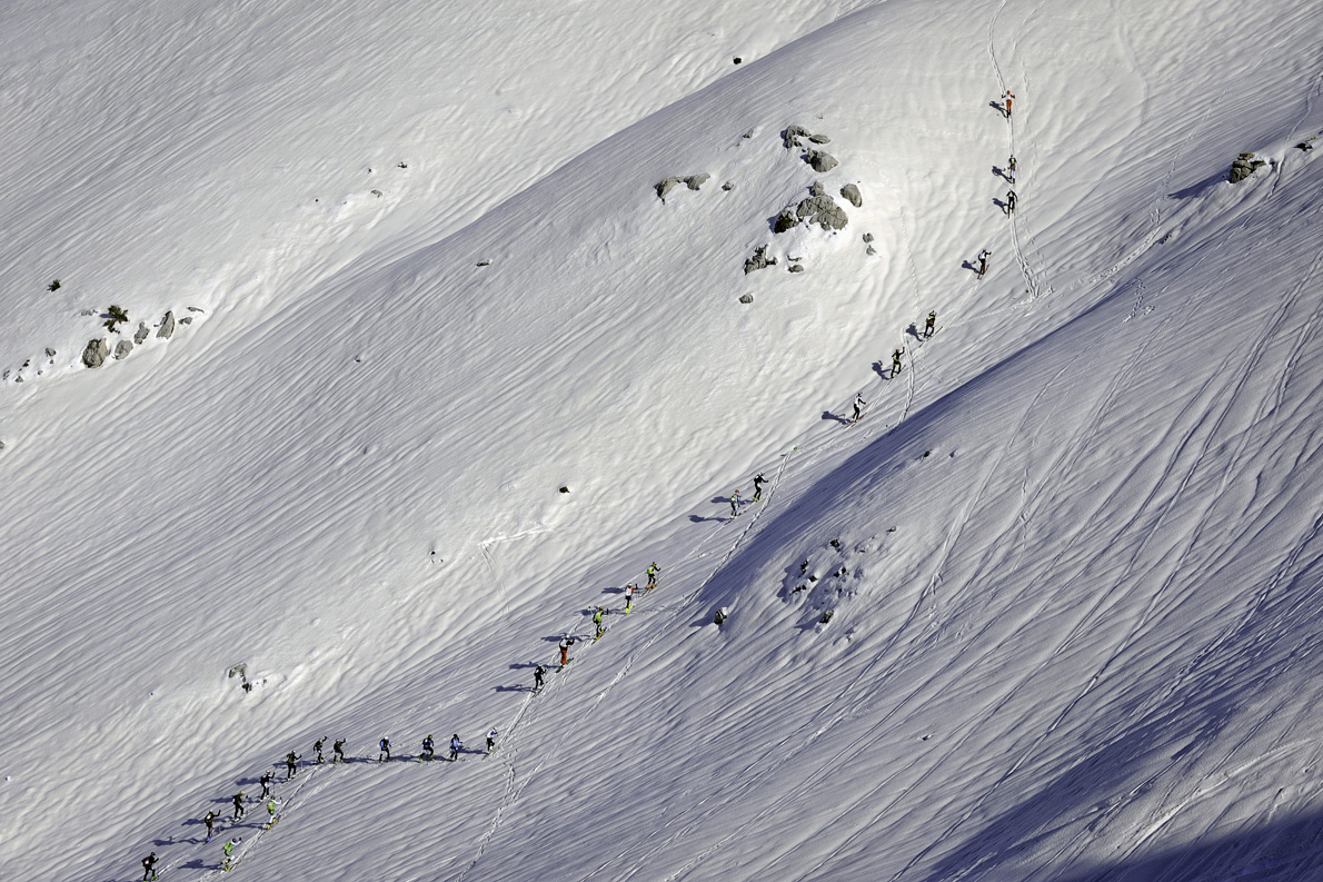 Λίγα λεπτά μετά την εκκίνηση αγώνα Ορειβατικού Σκι στον Παρνασσό.