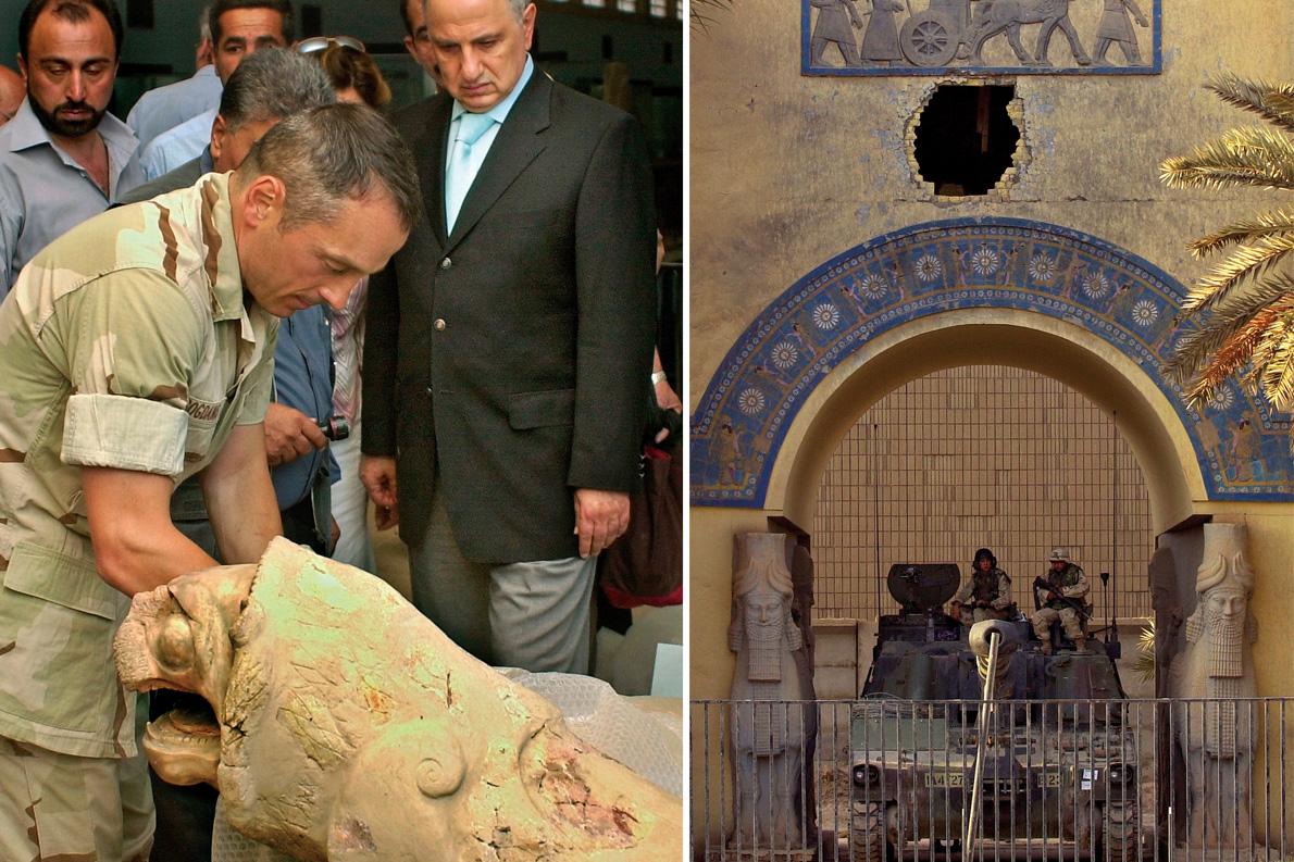 Αριστερά: Στο μουσείο του Ιράκ, τον Μάιο του 2003 ο επικεφαλής του Κυβερνητικού Συμβουλίου της χώρας, Αχμέντ Χαλάμπι (δεξιά). Μέσα απο το φιάσκο του Ιράκ, ο Μπογδάνος βγήκε νικητής και δικαιωμένος. Δεξιά: Αμερικάνοι στρατιώτες φρουρούν το Μουσείο της Βαγδάτης.