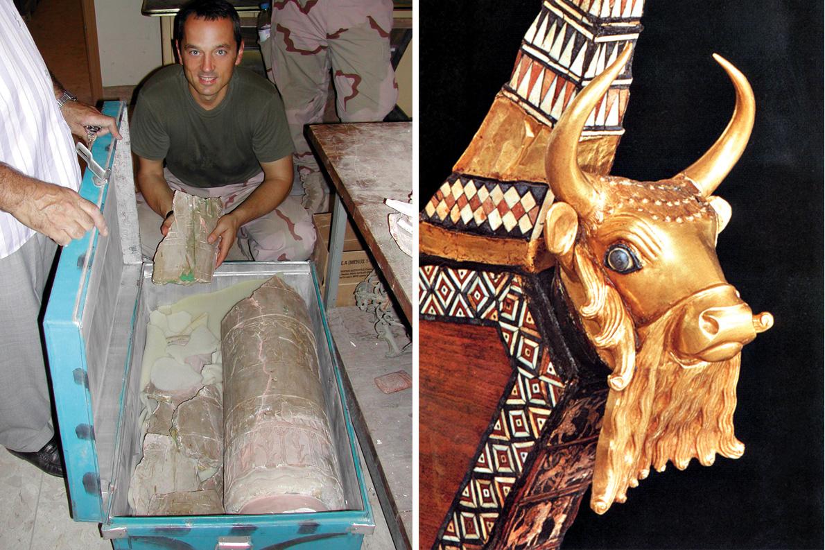 """Αριστερά: Μία από τις πιο πολύτιμες αρχαιότητες που πήρε μέσα απο τα χέρια των αρχαιοκάπηλων ο Μπογδάνος, το ιερό """"Vase of Warka"""". Δεξιά: Χρυσό Κεφάλι ταύρου, που διακοσμούσε τη χτυσή άρπα της βασίλισσας Πουαμπί."""