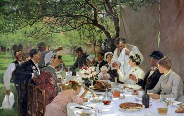 Η Έμα Μποβαρύ σε γαμήλιο γεύμα