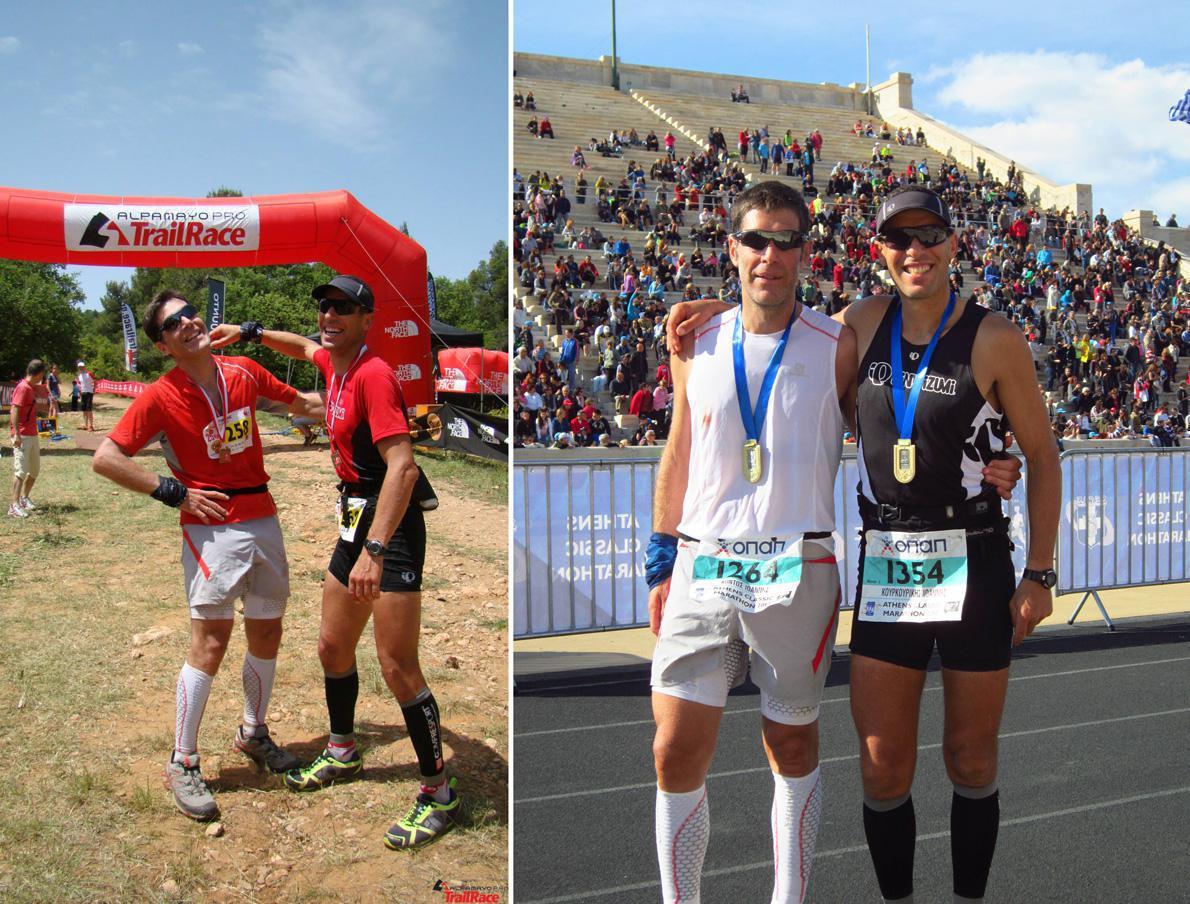 Οι δύο Γιάννηδες αριστερά στο AlpamayoPro Trailrace 2013 και δεξιά στον Κλασικό Μαραθώνιο 2012.