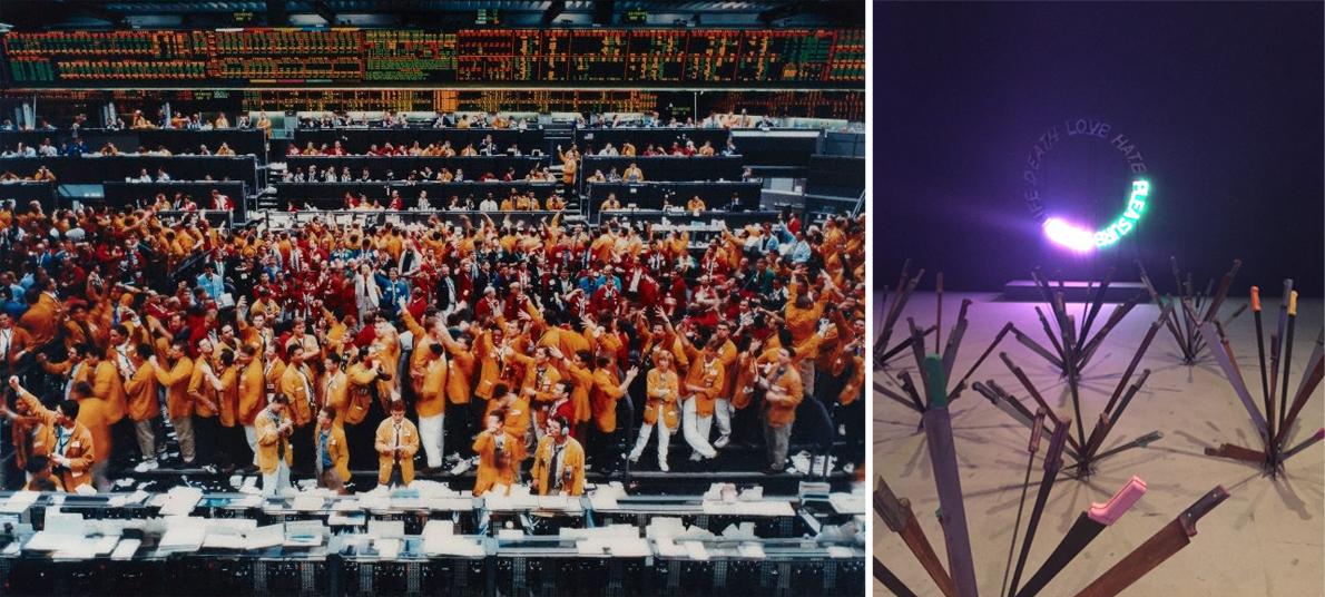 Andreas Gursky, 'Chicago Mercantile Exchange', 1997, Central Pavilion, Giardini | Bruce Nauman 'Life, Death, Love, Hate, Pleasure, Pain', 1983 _ Adel Abdessemed 'Nymphéas', 2015, Arsenale