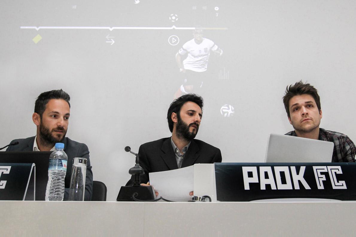 Ο Παναγιώτης Αρωνιάδης (Υπευθύνος και Project manager του paokfc.gr / PAOK FC), ο Δημήτρης Παπάζογλου και ο Γιώργος Χατζόπουλος κατά την διάρκεια της συνέντευξης τύπου για την επίσημη παρουσίαση της νέας ιστοσελίδας του ΠΑΟΚ που πραγματοποιήθηκε στις 20 Απριλιού στο γήπεδο της Τούμπας. Φωτογραφία: Βασιλης Βέρβερίδης / ©paokfc.gr