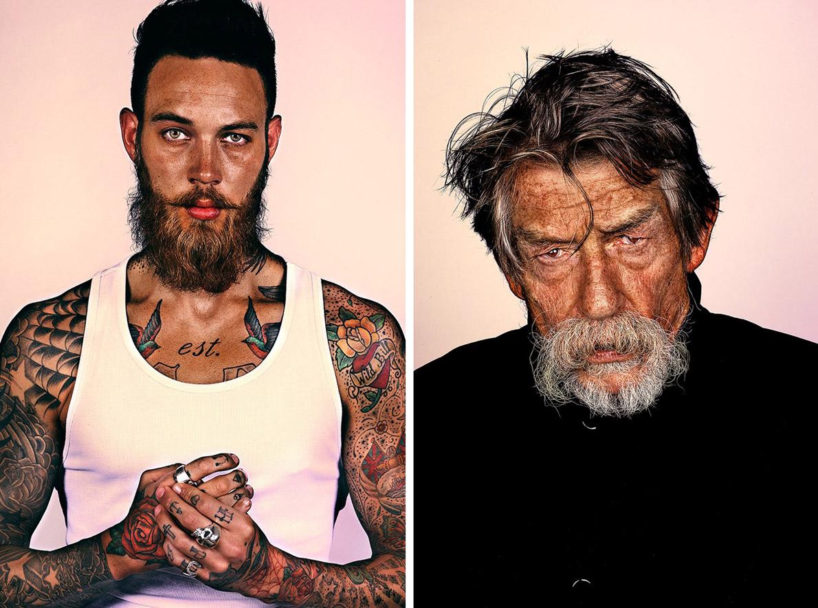 """Αριστερά: Τα tattoos του μοντέλου Billy Huxley άφησαν ακάλυπτο μόνο το πρόσωπό του. Για να πέφτει το μάτι στο προσεγμένο μούσι. Δεξιά: Ο βραβευμένος με Όσκαρ, Βρετανός ηθοποιός John Hurt βγαλμένος από τα μπουντρούμια του """"Εξπρές του μεσονυχτίου""""."""